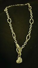 "Judith Ripka♡Sterling Silver Rolo Circle Link Chain Toggle Necklace♡18"" w/Heart"