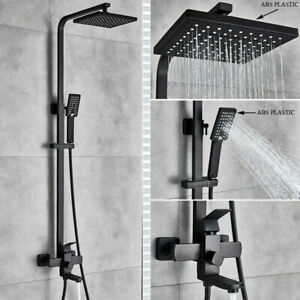Shower Faucet System Combo Set 8 inch Rainfall Head with Hand Shower Matte Black