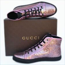 GUCCI New sz 42 G - US 12.5 Auth Womens Glittered Shoes High-Top Sneakers Pink