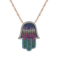 Womens Iced Out Hamsa Hand Pendant Rose Gold Tone Sterling Silver 925 Necklace
