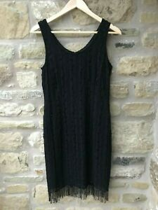 Ladies DEBUT Black Beaded Dress LBD Evening Party Occassion Fit 8-10