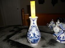 "Delft blue Holland hand painted signed vase 8.5"" crown trademark flowers"