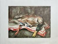 """Gisela Maack, signierte Farblithographie, Stillleben """"Ente zum Fest"""", 1989"""