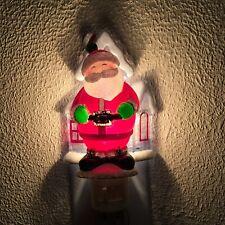 Jolly Santa Night Light House Snow Roof Christmas Plug In Holiday Decor On Off