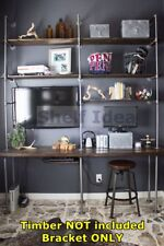 3x Post Rustic Industrial Pipe Shelf TV Unit Wall Mount Shelving Brackets S069