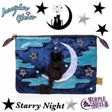 Irregular Choice NOTTE STELLATA Ricamato Navy Blue Velvet CAT MOON Pouch Bag