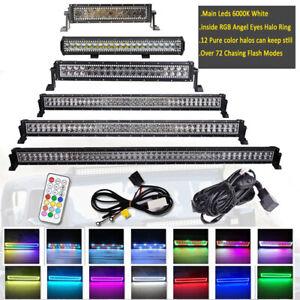 14/20/22/32/42/50 inch 288W Led Light Bar Combo RGB Halo Chasing & Free Wiring
