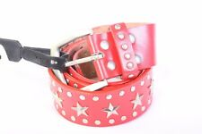 Solid red silver studs stars belt Medium NWOT NEW