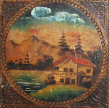 ANTIQUE  EUROPEAN WOOD HAND PAINTED PYROGRAPHY TRINKET BOX