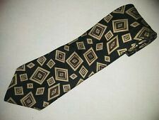 Burberry London Tie 100% Authentic Black Geometrical Square Check Silk Vintage