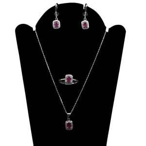 7x5 mm Natural Pink Ruby Gemstone 925 Sterling Silver Set Necklace Ring Earring