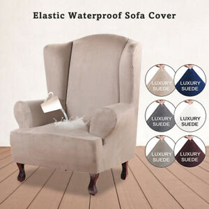 Waterproof Suede Wing Chair Slipcover Stretch Fit Chair Cover Armchair Protector