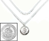 """925 Sterling Silver 20"""" Chain Link Men's Women's Necklace And Saint Christopher"""