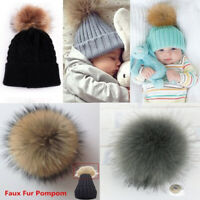 12cm Faux Fox Fur Pom Pom Ball with Press Button for Hat Cap Scarf Accessories