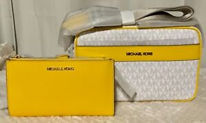 """Authentic Michael Kors """"Kenley"""" citrus multi with matching wallet."""