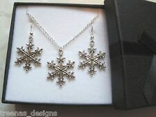 *CHRISTMAS SNOWFLAKE CHARM* Gift Set SP Necklace Earrings GIFT BOX Xmas Gift