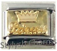 PRINCESS CROWN GOLD TONE Enamel Italian Charm 9mm- 1x NC110 Single Bracelet Link