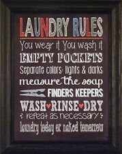 LAUNDRY RULES by Jo Moulton 15x19 FRAMED PRINT Sign Wash Today Naked Tomorrow