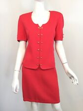 St. John Coral Knit Jacket And Skirt Set Size 6, 10