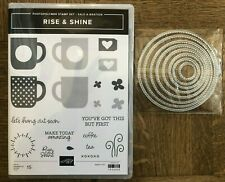Stampin Up RISE & SHINE stamps & STITCHED CIRCLES Dies SAB Coffee cups Latte Tea