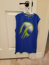 Blue Sleeveless Athletic Dry Fit Baseball on Front T-Shirt Size Youth Xl
