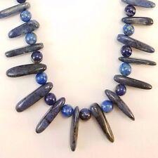 "Blue Tumbled Gemstone & Lapiz Lazuli Bead Necklace on a Silver Chain 17"" R103"