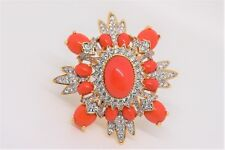 Vintage Kenneth Jay Lane Coral Color & Crystal Cabochon Pin Large Size