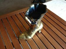 "vintage BRASS WOMENS VICTORIAN HIGH HEEL BOOT SHOE 9"" tall  Match Holder"