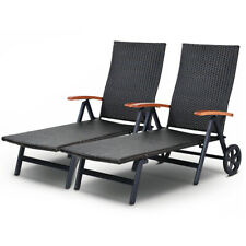 2 Pcs Patio Folding Rattan Lounge Chair Chaise Poll Outdoor Use w/Wheel