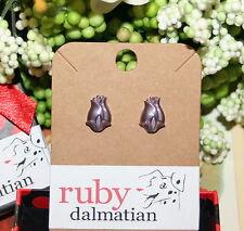 satin lavender lilac tulip 8 Vintage glass sterling post stud earrings