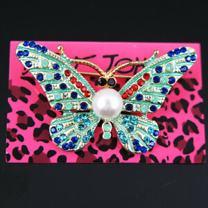 Betsey Johnson Painted Butterfly Brooch Pin with Crystals faux white pearl NEW