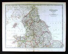 1883 Johnston Royal Atlas Map North England & Wales Liverpool York Lincoln Man