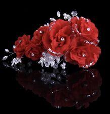Bridesmaid Bridal Wedding Red Crystal Pearl Flower Rose Hair Vine HeadPiece