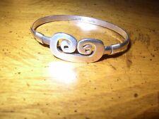 """CBC Caribbean Bracelet Co PETROGLYPH 925 Sterling & 14K Gold Hook Bangle 6.5"""""""