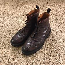 Mr. B's For Aldo Wingtip Leather Boots Burgundy Ox Blood Vibram Souls • Sz 8.5