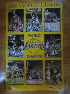 1987 LOS ANGELES NBA CHAMPIONS Starline Poster MAGIC KAREEM WORTHY RAMBIS COOPER