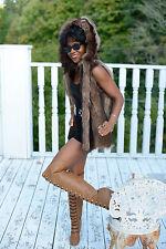 New designer  brown Hooded Raccoon Fur Vest to coat jacket bolero S-M 0-6