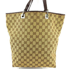 GUCCI tote bag GG canvas beige canvas �~ leather Auth used T16941