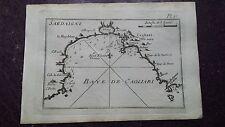 """1780 Roux Meucci: Portolano Baia Carta Nautica """"Baye de Cagliari"""" (Sardegna Map)"""