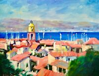 AskArt Listed Artist Nino Pippa Orig Oil Painting French Riviera St. Tropez