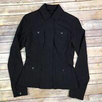 Elie Tahari Women's 4 Black Virgin Wool Blend Stretchy Military Blazer Jacket