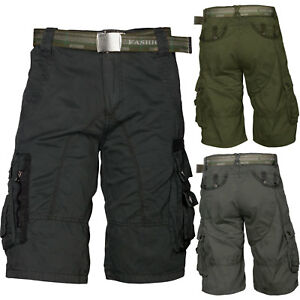 Shorts Herren Capri 100 % Baumwolle Kurze Hose Trisens mit Gürtel Taschen