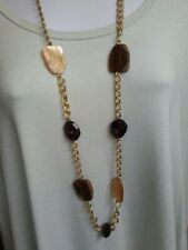 """Avon Brown Tortoise Uneven Shape Lucite Gold Tone Link Chunky Necklace 38"""" L"""