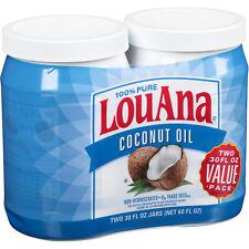 LouAna 100% Pure Coconut Oil, 30 Fl Oz (Pack of 2)