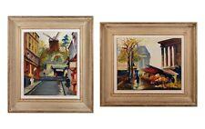 Fernand Guignier Pair of Parisian Street Scenes France Oil Canvas Signed Dated