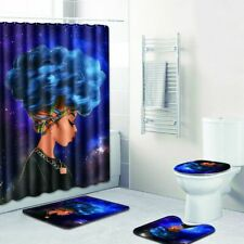 African American Queen Purple Afro Shower Curtain Rug Toilet Seat Mat Set 4pcs.