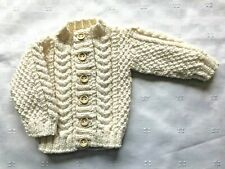 Hand Knitted 100% Wool New Born Baby Aran Cardigan In Cream (off White)