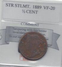**1889** Straits Settlement, 1/2 Cent, Coin Mart Graded**VF-20**