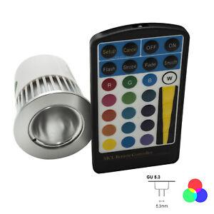 Luminaire Lampe LED MR16 RGB 5W Chromothérapie 16 Couleurs 12V Télécommande Ir