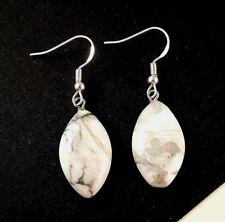 White Howlite Gemstone Dangle Fashion Earrings & Sterling Silver Hooks #109